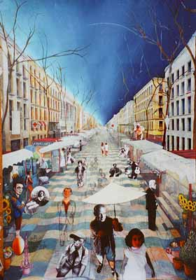 Arrangement of figures in Ramblas painting